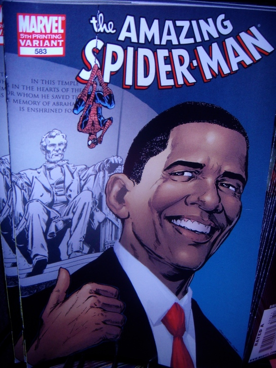 Breaking news... Three months after the elections, the President has received the mother of all endorsements---Spiderman!!!!